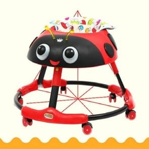 Cartoon Baby Walker with Wheels Multifunctional Rollover Folding Child Toddler Walker Car Walking Assistant(Red)