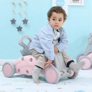 Children Rocking Horse Yo Car Combination Plastic Rocking Cradles Baby Home Scooter Walker(Cherry Pink)