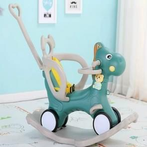 Baby Rocking Chair Baby Rocking Horse Wooden Multifunctional Musical Ride On Toys(Green with Dinner Plate)