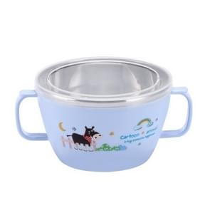 Children stainless steel anti-drop insulation bowl(Blue)