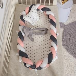 Cotton Woven Folding Portable Crib Bed Bionic Removable and Washable Manual Fence Three-dimensional Protective Crib(White orange dark gray)