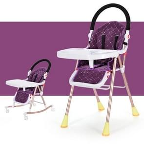 3 In 1 Portable Folding Multi-functional Baby Highchair Dining Seat Table Adjustable Baby Rocking Chair(Purple)