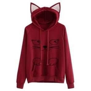 Effen zwarte hooded top cute cat hoodie warme Womens sport trui  grootte: XXL (wijn rood)