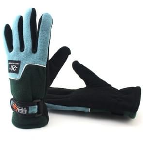 Anti-skid And Anti-wind Outdoor Cycling Fleece Hiking Climbing Running Ski Full Finger Gloves(Lady Sea Blue)
