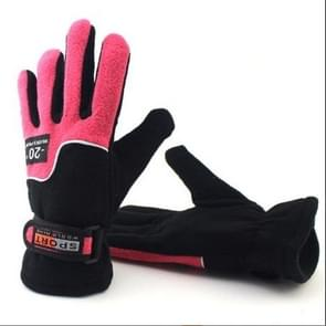 Anti-skid And Anti-wind Outdoor Cycling Fleece Hiking Climbing Running Ski Full Finger Gloves(Lady Rose Red)