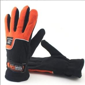 Anti-skid And Anti-wind Outdoor Cycling Fleece Hiking Climbing Running Ski Full Finger Gloves(Lady Orange)