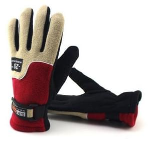 Anti-skid And Anti-wind Outdoor Cycling Fleece Hiking Climbing Running Ski Full Finger Gloves(Lady Red)