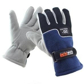 Anti-skid And Anti-wind Outdoor Cycling Fleece Hiking Climbing Running Ski Full Finger Gloves (Men Blue)