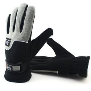 Anti-skid And Anti-wind Outdoor Cycling Fleece Hiking Climbing Running Ski Full Finger Gloves (Men Black and Grey)