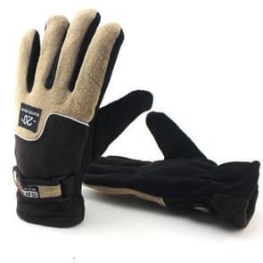 Anti-skid And Anti-wind Outdoor Cycling Fleece Hiking Climbing Running Ski Full Finger Gloves (Men Brown)
