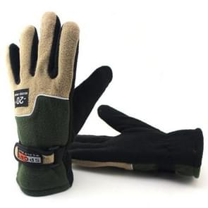 Anti-skid And Anti-wind Outdoor Cycling Fleece Hiking Climbing Running Ski Full Finger Gloves (Men Army Green)