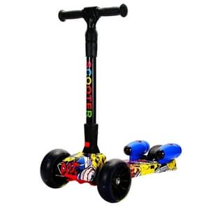 Foldable Three-wheeled Children Scooter with Spray Flash & Music Features(Street Dance)