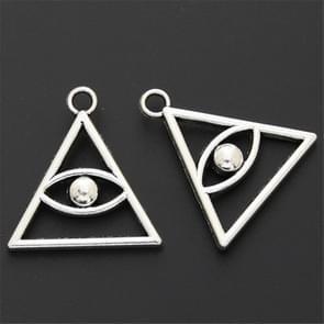 50pcs Devil Eye Pattern Antique Silver Zinc Alloy Triangle Pendant