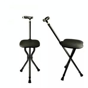 Outdoor draagbare vouwen midden en oude leeftijd stoel Cane stoel met Bank (zwart met LED-lampje)