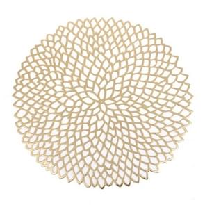 2 stks tabel Bowl matten Home decor placemat voor eettafel PVC kunststof holle isolatie ronde barokke mediterrane Coaster pads (goud)