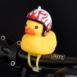 Cartoon Yellow Silica Gel Little Duck Shape Bicycle Bells Shining Mountain Bike Handlebar Duck Head Light Accessories(Duck + flame helmet)