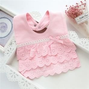 Baby Girl Waterproof Bib Multilayer Cutout Snap Design Princess Rice Pocket(Pink)