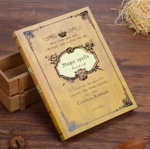 64K Small Pocket Vintage Notebook Handcover Magic Spells Pockets Book Planner Journal Traveler Notepad(A5 Yellow)