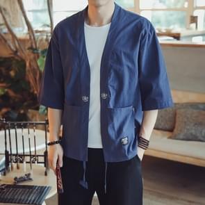 Mannen Cardigan Tops Driekwart Mouw Chinese Style Jacket  Size:M (Donkerblauw)