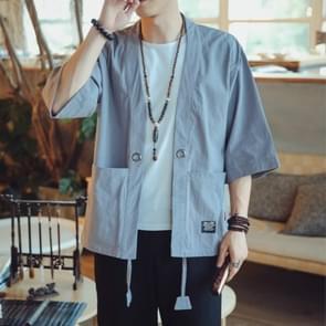Mannen Cardigan Tops Driekwart Mouw Chinese Style Jacket  Size:L (Sky Blue)