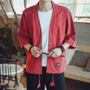 Mannen Cardigan Tops Driekwart Mouw Chinese Style Jacket  Size:XL(Rood)