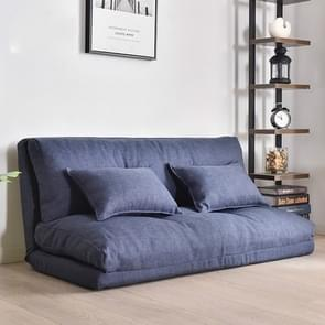Double-purpose Small Apartment Bedroom Multi-functional Folding Lazy Little Sofa Bed(120cm Dark Blue)