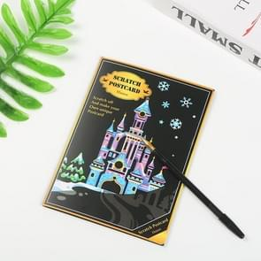 4 PCS Creative Color Postcard Scraping Night Scenes Scratching Cartoon Animal Characters Greeting Cards(Castle)