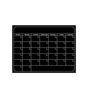 2 PCS  Rewritable Magnetic Calendar Stickers Refrigerator Stickers Message Board Blackboard Stickers(Black)