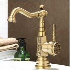 Dek gemonteerde wastafel kraan Vintage antiek messing badkamer wastafel kraan (groene bronzen bekken kraan)