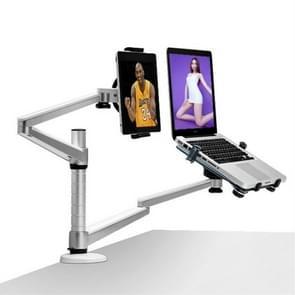 OA-9X Aluminum Alloy Height Adjustable Universal Rotation Double Arm Holder Notebook Tablet Combination Stand