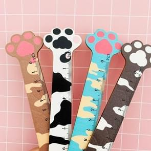 2 PCS Cute Cat Claw Wooden Ruler Measurement Drawing Student Stationery School Office Supplies