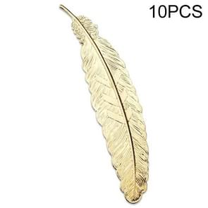 10 PCS Feather Leaf Metal Bookmark Children Student Gift Stationery School Office Supplies(Goose Yellow)