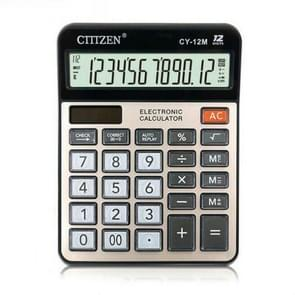 GTTTZEN CY12M Calculator Dual Power 12-bit Financial Small Office Supplies Desktop Calculator