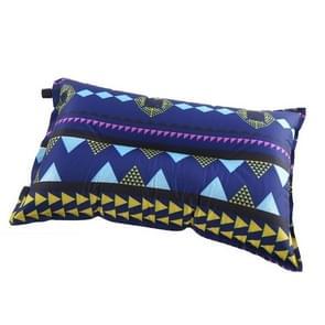 Draagbare etnische stijl automatische opblaasbare kussens Outdoor Camping Tent Camping Equipment Car Travel Pillows (Navy Blue Stripes)