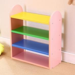 Creative Child Combination Color Lovely Multi-layer Wooden Shoebox, Size: Width 45 x height 55 xdepth 20 cm(Pink)
