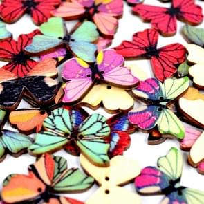 50 in 1 Vintage Environmentally Friendly Hand-painted Wooden Butterfly Shape Button, Random Style Delivery, Size:28mm