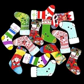 30 in 1 Children Cartoon Color Print Christmas Socks Shape Series Wooden Buttons, Random Style Delivery, Specification: 30 x 18mm