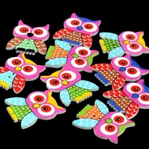 20 in 1 Children Clothing Colorful Cartoon Owl Wooden Eye Button, Specification: 35 x 28mm