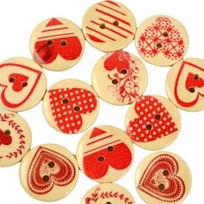 30 in 1 Love-heart Shape Wooden Buttons with Eye, Size:20mm