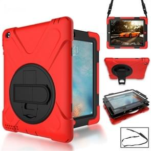 360 Degree Rotation Silicone Protective Cover with Holder and Hand Strap and Long Strap for iPad 6 / iPad Air 2(Red)