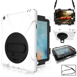 360 Degree Rotation Silicone Protective Cover with Holder and Hand Strap and Long Strap for iPad 6 / iPad Air 2(White)