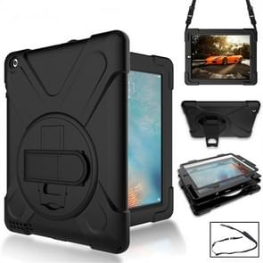 360 Degree Rotation Silicone Protective Cover with Holder and Hand Strap and Long Strap for iPad 6 / iPad Air 2(Black)