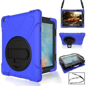 360 Degree Rotation Silicone Protective Cover with Holder and Hand Strap and Long Strap for iPad 6 / iPad Air 2(Blue)