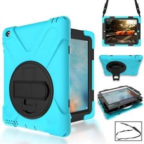 360 Degree Rotation Silicone Protective Cover with Holder and Hand Strap and Long Strap for iPad 5 / iPad Air(Light Blue)