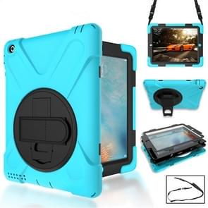 360 Degree Rotation Silicone Protective Cover with Holder and Hand Strap and Long Strap for iPad mini 1 / 2 / 3(Light Blue)