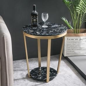 Household Living Room Sofa Iron Art Small Apartment Balcony Negotiate Small Tea Table, Colour: Embedding(Black Jade Black )