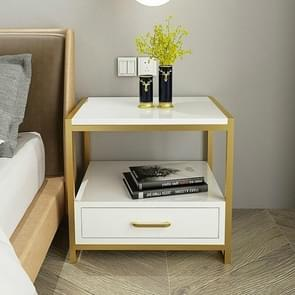 Simple Bedroom Mini Storage Locker Bedside Table, Color:A White Piano Lacquer