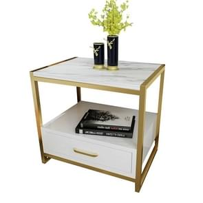 Simple Bedroom Mini Storage Locker Bedside Table, Color:B White Marble Surface