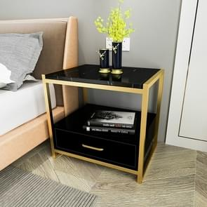 Simple Bedroom Mini Storage Locker Bedside Table, Color:B Black Marble Surface