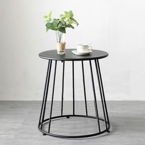 Simple Iron Art Bedroom Round Coffee Table, Color:Black 55x55x52cm